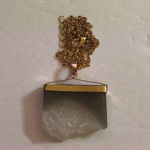 Quartz Crystal Slice Pendant & Chain. NEW